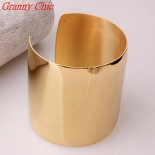 Granny Chic New Designer Stainless Steel Wide Blank Plain Shiny Arm Cuff Bangle Bracelet Gold color Jewelry Ladies Fashion