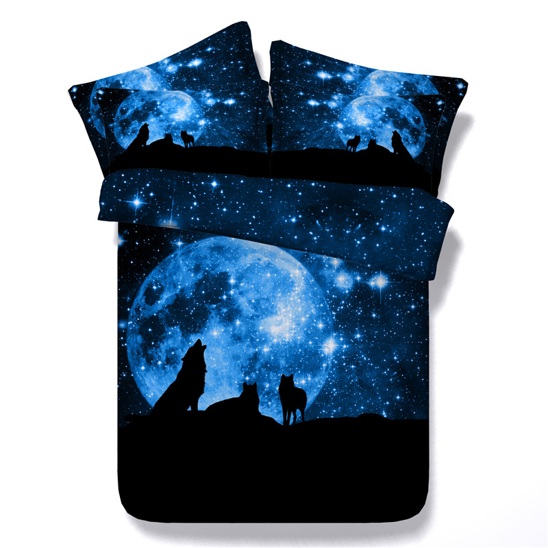 Sexy Wolf Star Galaxy bedding sets twin full queen king size animals 3/4pc 3d painting duvet cover 500tc pillowcase Kids Boys