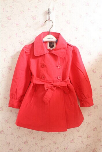 Top quality 2014 new designer 2 color children coat French brand girls belt Autumn Winter coat
