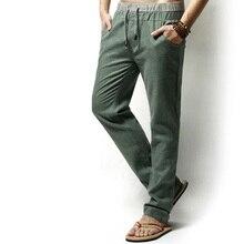 Männer Beiläufige Dünne Lose Baumwolle Leinen Hosen Elastische Lange Hosen Jugendliche Einfarbig Leinenhose Große Größe M-5XL