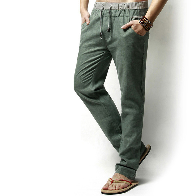 Men Casual Thin Loose Cotton Linen Pants Elastic Long Pants Teenagers Solid Color Linen Trousers Big Size M-5XL