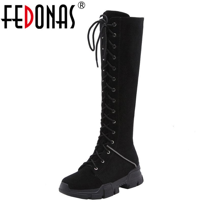 FEDONAS Fashion Women Knee High Boots Lace Up Platforms Round Toe Long Martin Shoes Woman Warm Snow Boots High Motorcycle Boots ancient greek lace up leather suede knee high women boots round toe thick high heels fashion woman motorcycle boots shoes women