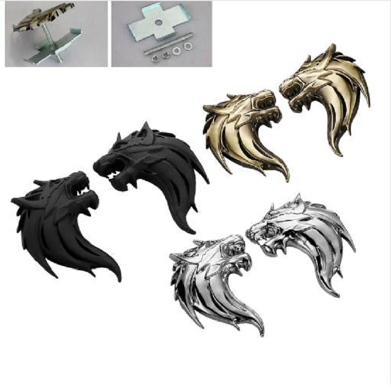 Wolf Head Ho 100% 3D Metal Auto Ho Car Grill Badge Logo Totem Grille Emblem Sticker DIY Gun /Silver /Bronze 3 Colors Car-Styling front grille led emblem logo light 4 colors abs decorative grill lamp for f ord r anger t7 2016 2017 car styling