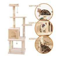 New Arrival Cat Tree H145 cm Multi layer With Natural Sisal Scratching Post Cat sleeping Kennel Kitten Favor Funny Toy Cat House
