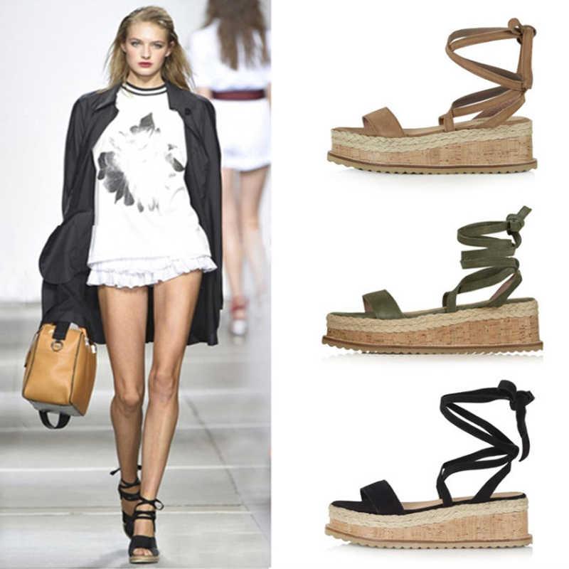 Yaz kama Espadrilles kadın sandalet açık Toe roma ayakkabı gladyatör sandalet bayanlar rahat dantel Up kadın Platform sandalet