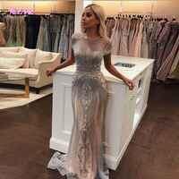 YQLNNE 2019 Luxury Rhinestones Nude Mermaid Evening Dress Long Evening Pageant Dresses Formal Gown robe de soiree