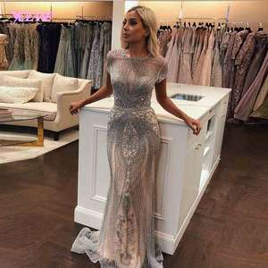YQLNNE 2019 Luxury Rhinestones Nude Mermaid Evening Dress Long Evening Pageant Dresses Formal Gown robe de soiree