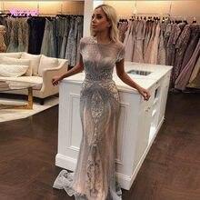 YQLNNE 2020 Luxus Strass Nude Meerjungfrau Abendkleid Lange Abend Pageant Kleider Formales Kleid robe de soiree