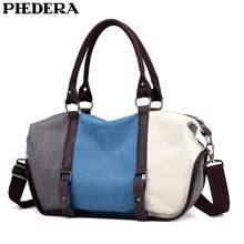 PHEDERA Patchwork Female Shoulder Bag Fashion High Quality Canvas Women Handbags Striped Lady Purse Bags 2019 Spring New