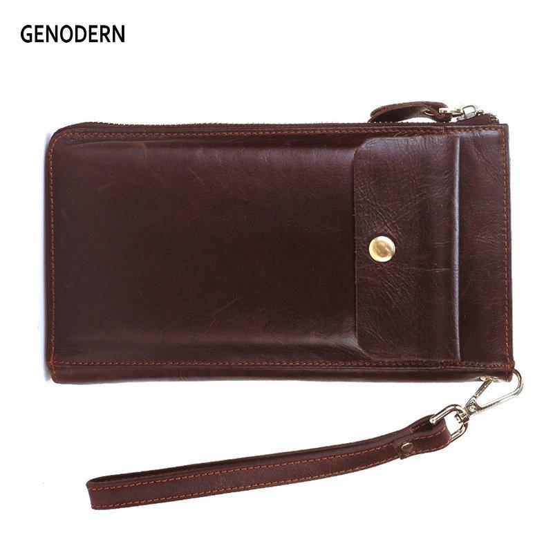 GENODERN Männer Kupplung Brieftaschen mit Telefon Tasche Multi-kartenhalter Echtem Leder Männlichen Kupplung Brieftaschen Lange Geldbörsen männer Kupplung brieftasche