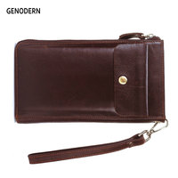 GENODERN Men Clutch Wallets with Phone Bag Multi Card Holder Genuine Leather Male Clutch Wallets Long Purses Men's Clutch Wallet