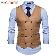 מותג חדש מקרית Slim Fit Mens וסטים שמלות לגברים אפוד חליפת מעיל זוגי חזה חזיית Gilet Homme עסקי רשמי XXL