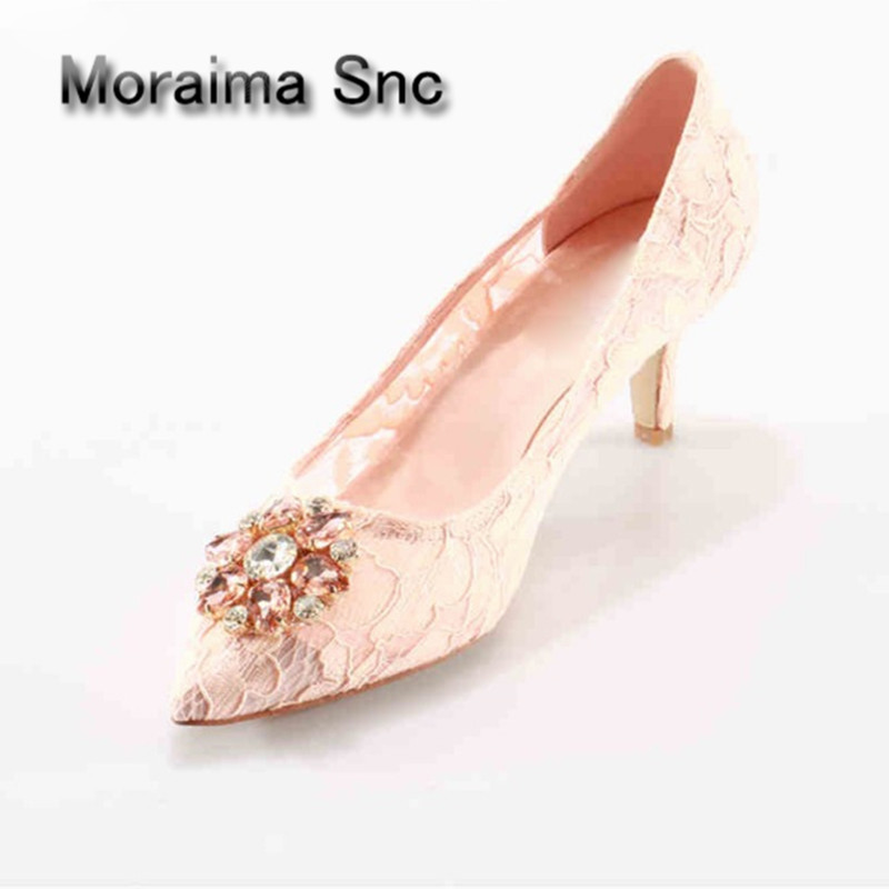 Moraima Snc Crystal Sexy Lace Bridal Shoes Med Heels Pointed Toe Dress Party Shoes Woman Luxury Handmade Designer Pink Shoes