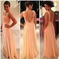 New 2015 Vestidos De Fiesta Peach Long Chiffon A-Line Formal Evening Gowns Nude Back Lace Prom Dresse