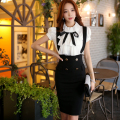 Original 2016 Brand Faldas Lolita Summer Plus Size Slim Elegant Double Breasted Zipper Black Pencil Braces Skirt Women Wholesale