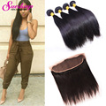 Brazilian Straight Hair With Closure Ear To Ear Lace Frontal Closure With Bundles Straight Hair With Closure Pre Plucked Frontal