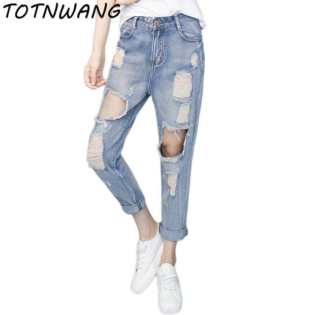8a0a9fa4c1fd0 Women Loose Hole Jeans femme Plus Size Vintage Female 2017 Ladies Blue Denim  Pants Pencil Casual