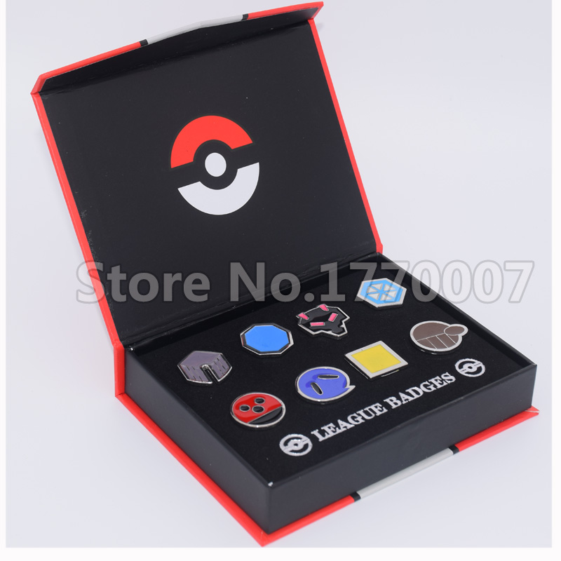 Pokemon Gym Badges Johto Region League Pins Brooches 8pcs New in Box Collection Gift