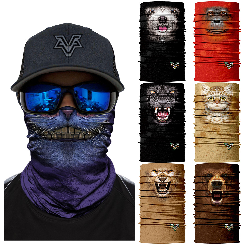 3D Seamless Scarves Headband Cute Pet Neck Bandana Facemask Animal Mask Cycling Ski Magic Bandana Dog Cat Headwears Headscarf