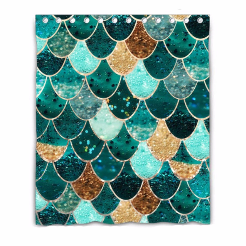 mermaid scales Custom Shower Curtain 100% Polyester Waterproof Bathroom decor Polyester Shower Curtain