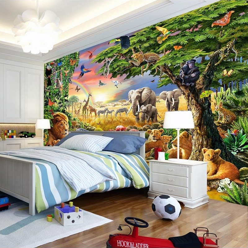 Custom Foto Muurschildering Vliesbehang 3D Cartoon Grasland Animal ...