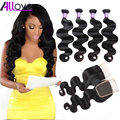 7A Brazilian Body Wave With Closure 3PCS Brazilian Hair Weave Bundles With 1PC Lace Closure Brazilian Virgin Hair With Closure