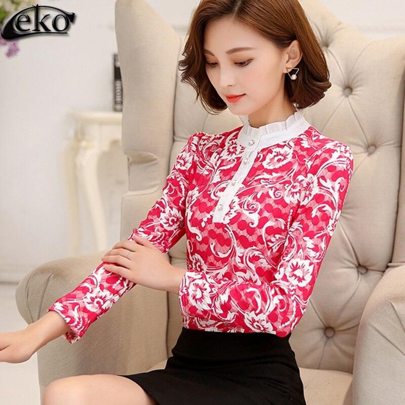 ⑥XXXL бархат кружевная блузка осень-зима Для женщин плюс Размеры с ... 0c801579006fe