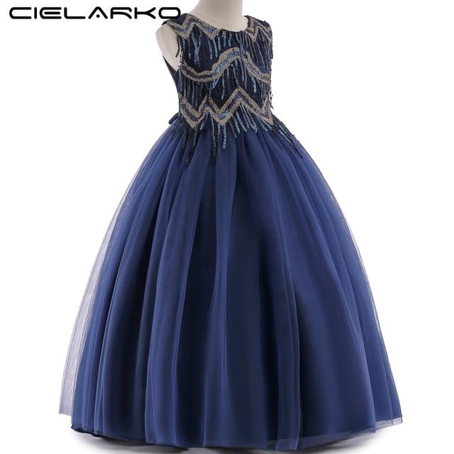 850b1213e7 Cielarko Girls Long Dress Sequin Formal Kids Party Dresses Elegant Princess  Birthday Frock Children Clothing for