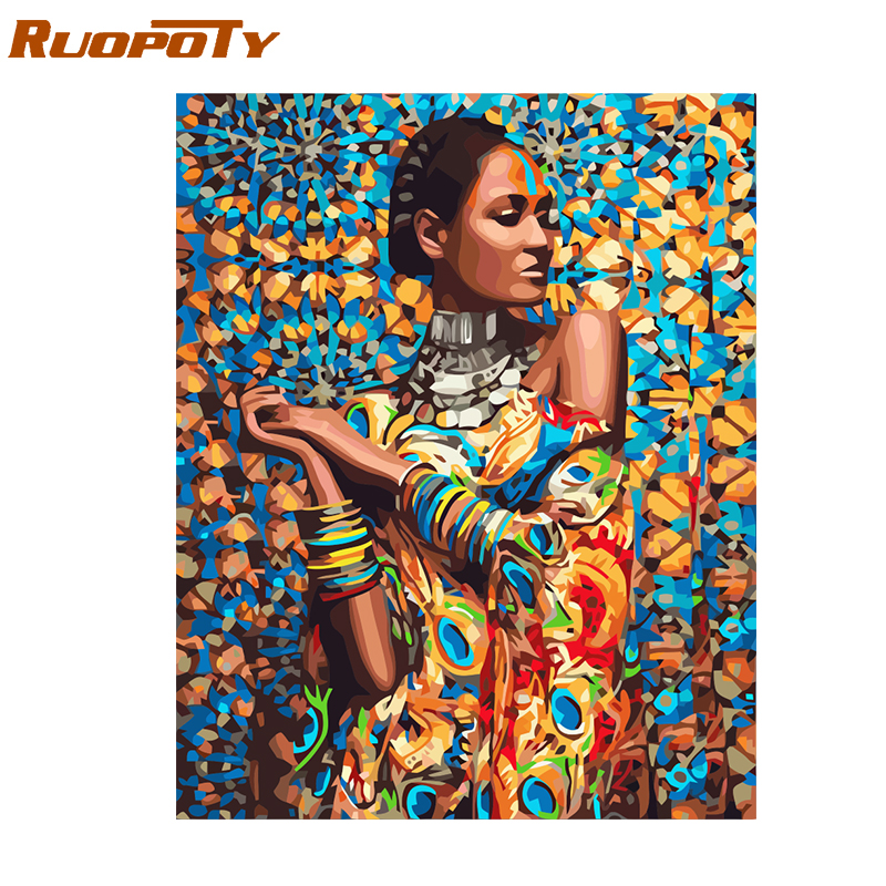 RUOPOTY Frame Women DIY Painting By Numbers Figure Kit Handpainted Oil Painting Unique Gift For Home Decor 40x50cm Wall Artwork