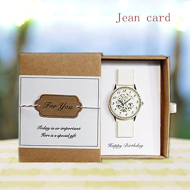 Laser Personalized Greeting Cards Blessings Studies Boyfriend Birthday Gift Box Card Mechanical Watches