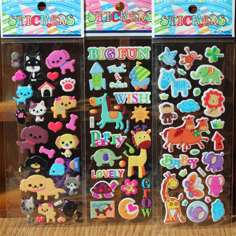 3D Sticker Cute Cartoon Vehicles Insects Dinosaur Animals Stickers Rooms Home Decor Notebook Label Decoration Toy Classic Toys