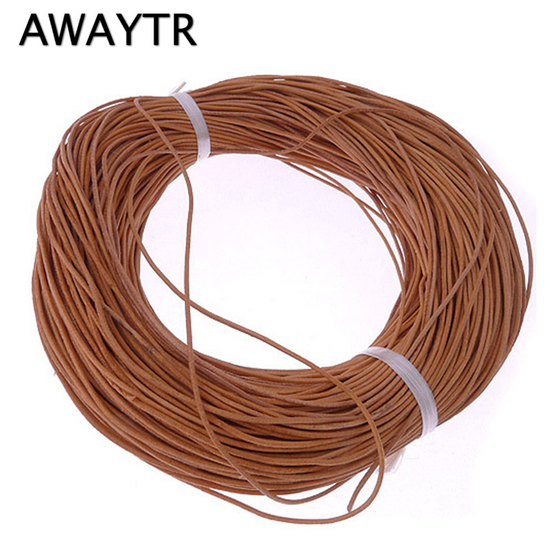 AWAYTR 10m/Lot 1mm Leather Cord Round Genuine Real Leather Rope Nature Cord for Bracelet Necklace DIY Jewelry Making artificial leather rope round collarbone necklace