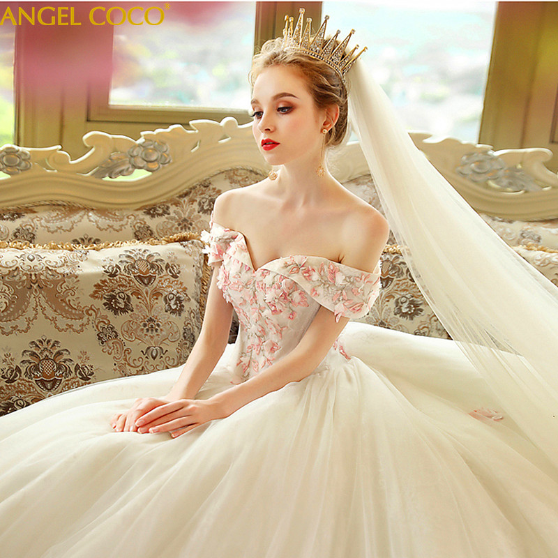 Pregnant Women Pregnancy Maternity Wedding Dresses 2019 New Bride Married Word Shoulder Princess Dream Wedding Simple Long Tail