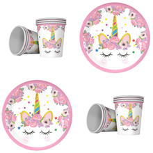 Lovely Unicorn theme 20pcs cups+20pcs plates for kids party Tableware set decoration 20people use