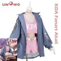 UWOWO Game LOL Cosplay K/DA Akali Cosplay Costume LOL KDA Women Halloween Costume Akali Costume Full Set Cosplay