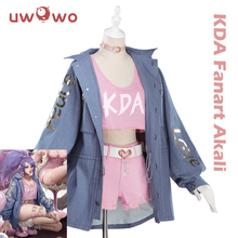 UWOWO Spiel LOL Cosplay K/DA Akali Cosplay Kostüm LOL KDA Frauen Halloween Kostüm Akali Kostüm Full Set Cosplay