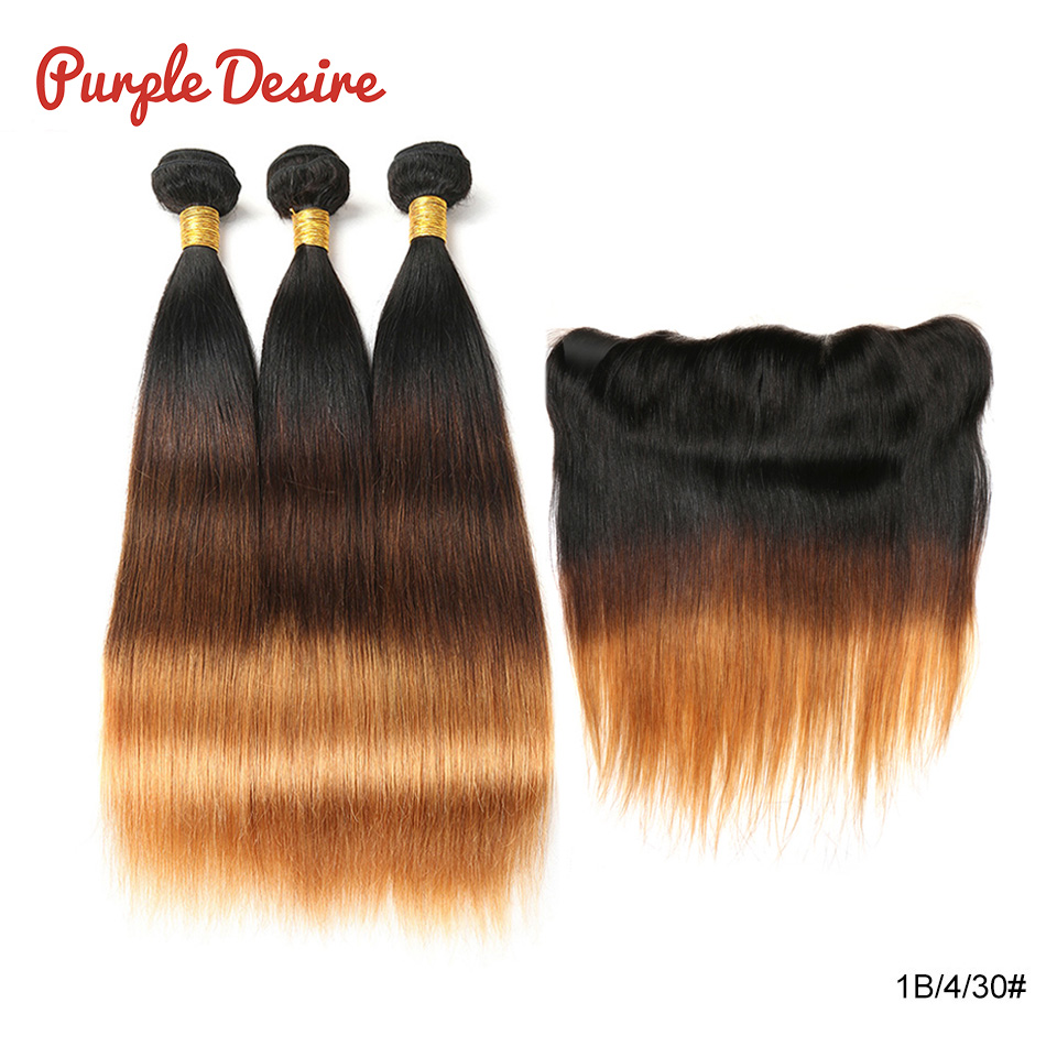Brazilian Straight Hair Weave Bundles with Closure 3 4 Remy Ombre Human Hair Bundles with Lace