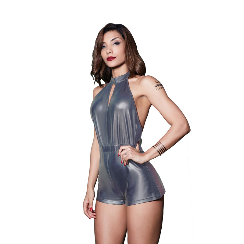 NAGODO Sexy Playsuit 2018 New Fashion European American Nightclub Hollowed Out Leaking PU Jumpsuit Women Black Silver colors