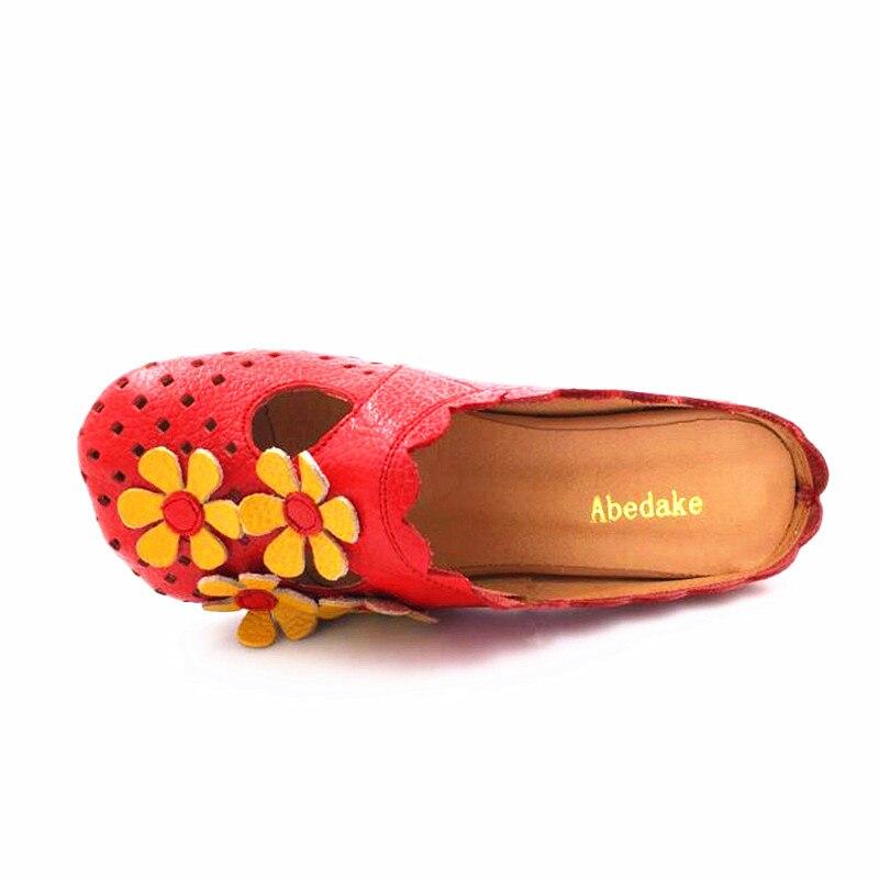 2018 De Marca Sandalias Hecha Abedake Mujer Genuino Zapatos Antideslizante Mano Zapatillas Cuero 1689 Tacón Verano A tw58nqd