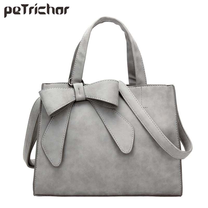 Large Capacity Bow Designer Faux Nubuck Leather Women Handbags Women Totes Purse Female Messenger Bolsa Ladies Shoulder Bag brand designer large capacity ladies brown black beige casual tote shoulder bag handbags for women lady female bolsa feminina