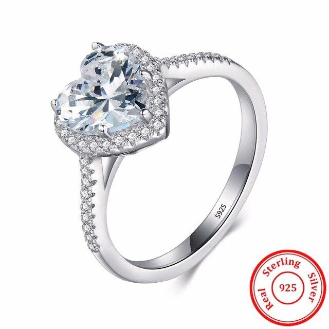 В форме сердца стерлингового серебра 925 кольцо уровень AAAAA cz обручальное Обручальные кольца для женщин девочек Bijoux с подарком коробка