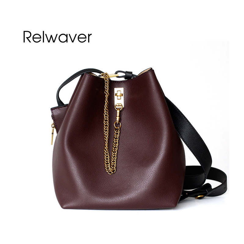 Relwaver split leather shoulder bag women leather handbags fashion stylish cowhide tote bag wine red black soft small bucket bag