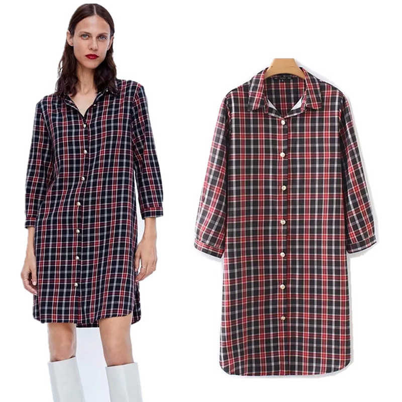COZARII  2018  blusa feminina kimono blouse blusas mujer de mod plaid long panelled dress womens dress and blouses plus size