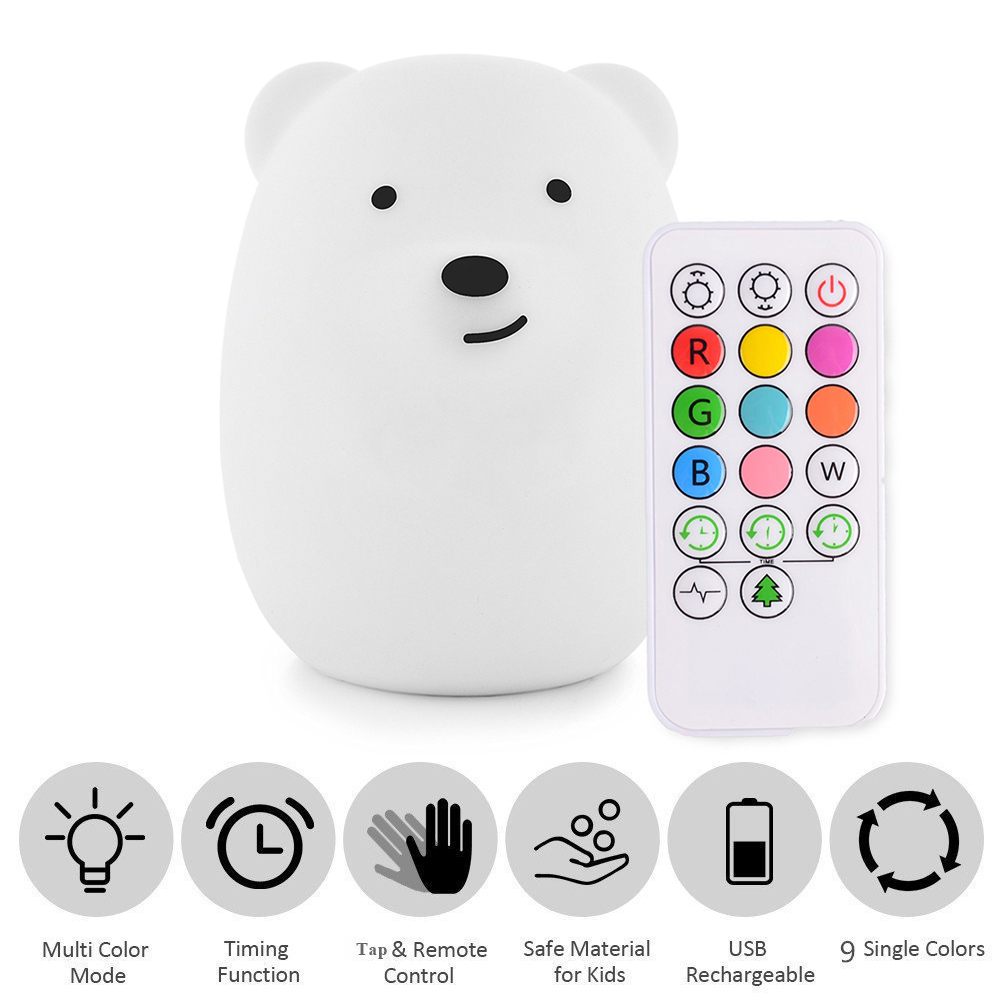 Baby Night Light Silicone Bear Nursery Lamps 4 Modes 9 Colors USB Rechargeable Remote Control Sensor Tap Night Lamp For Children dolphin led children night light usb rechargeable silicone baby nursery lamp with sensitive tap control for girl lady kid baby