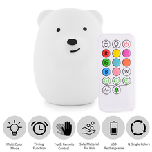Baby Night Light Silicone Bear Nursery Lamps 4 Modes 9 Colors USB Rechargeable Remote Control Sensor Tap Night Lamp For Children
