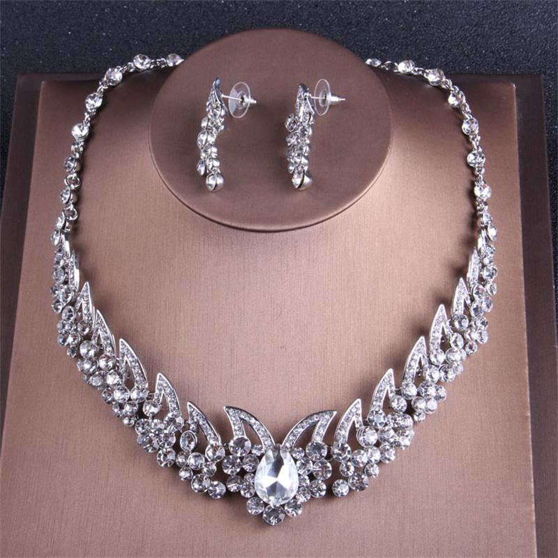 Alexzendra Silver Color Crystals Bridal Jewelry Unique Design New Wedding Necklace Engagement Jewelry for Women