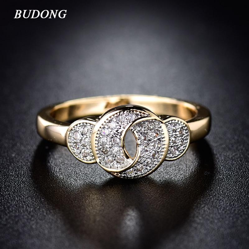 BUDONG bezgalība Eleganta draudzenes modes mezglu josla sievietēm zelta krāsas gredzena kristāla kubiskā cirkonija kāzu rotaslietas XUR278