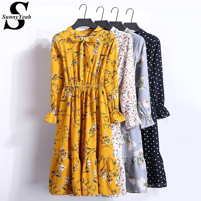 e49e1e4891495 SunnyYeah 2018 Summer Chiffon Dress Women Long Sleeve Midi Dress Floral  Print Casual Dresses Female Clothing Vestidos robe femme-in Dresses from ...