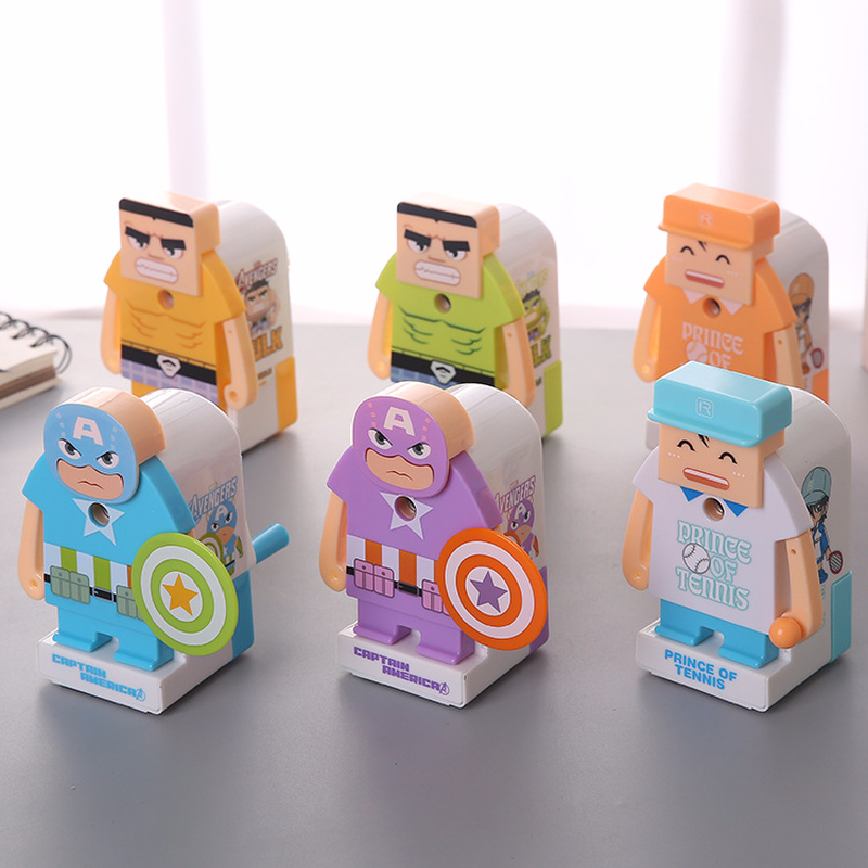 1 PCS Cartoon Design Mechanical Pencil Sharpener Machine for Kids Gift Manual Sharpeners Stationary Office School Supplies 1 pcs deli 0611happy cartoon mechanical pencil sharpener light hand roll pencil sharpener wholesale office and school stationary