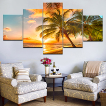 Modern Home Decor Canvas HD Prints Poster Living Room Framework Sunset Beach Coconut Tree Seascape Paintings Wall Art Pictures цены